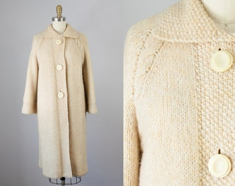 1960s Vintage Cream Wool Cable Knit Sweater Coat. 60s Knit Jacket (S, M)