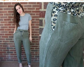 SALE 60% OFF 80s Vintage Washed Olive Animal Print Paper Bag Pants. Tapered Leg. (S,M)
