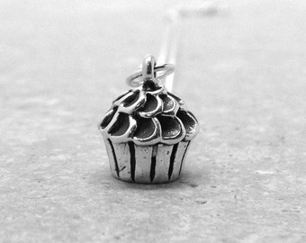 On Sale Cupcake Necklace, Cupcake Jewelry, Cupcake Pendant, Charm Necklace, Sterling Silver Cupcake Charm, Sterling Silver Jewelry, Cupcakes
