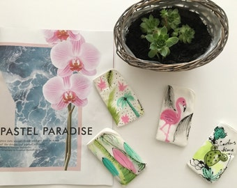"Hand painted silk Phone/sunglasses case  ""Pastel Paradise""- Free shipping to UK"