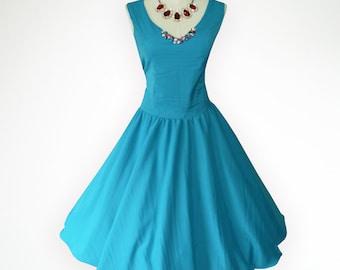 Teal Elegant Bead Neck 50s Pin up Rockabilly Swing Dress Full Swing Skirt