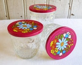 Vintage Quilted Ball Canning Jar - Pink Mod Flower Metal Lid - Set of Three Jelly Jars - 1970s