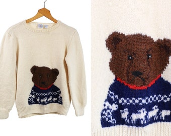 Vintage VTG VG 1990's 90's Wool Knit Sweater in Ivory with Bear Face in Scandinavian Sweater Retro Hipster Kitsch J.G. Hook Brand Size Small
