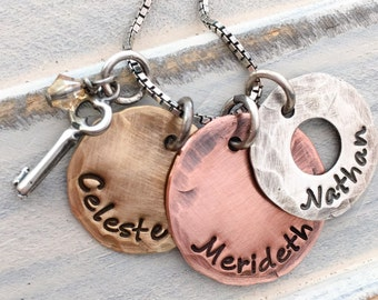 Mixed Metals Personalized Hand Stamped Mothers Key Charm Necklace