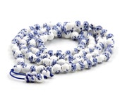 Tibetan 108 8mm Porcelain Flower Buddhist Prayer Beads Mala Necklace  ZZ387