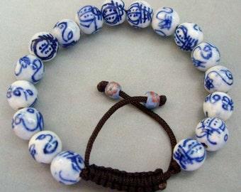 Hand Crafted Porcelain Beads Length Adjustable Bracelet  T0713