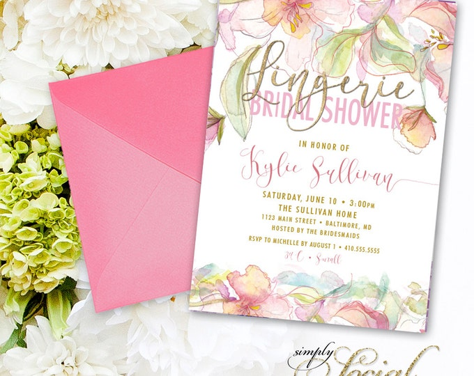 Boho Lingerie Bridal Shower Invitation - Floral Peony Blush Faux Gold Foil Boho Flowers Pink Watercolor Botanical Romantic Party Invite