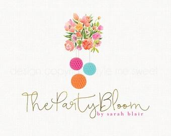 party logo design party pom logo design flower logo design floral logo design event planner logo photography logo watercolor logo watermark