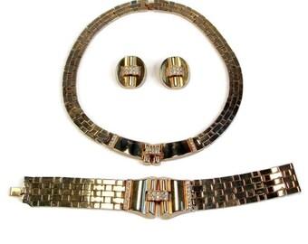 Trifari Demi Parure, Alfred Philippe, Trifari Tesselated Set, Crown Trifari, 1940s Patent, Art Deco Bracelet, Gold Plated, Trifari, Necklace