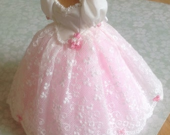 Handmade beautiful miniature dollhouse ivory silk, lace and pink tulle 1/12th scale dress