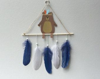 Feather Mobile, Tribal Boho Nursery Decor, Baby Mobile, Nursery Wall Art, Boho Nursery Art, Boho Mobile, Bear Baby Mobile
