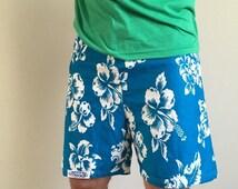 70% OFF Vintage 1980s 1990s Mens Cotton Blue Hawaiian Swim Trunks Shorts Suit Loggers L