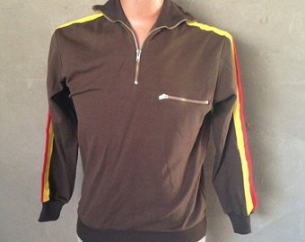 HALF OFF Vintage 1980s m48 NVA Asv Original Authentic Jogger Track Jacket German Brown Yellow Red M (c)