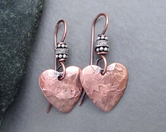 Pave Diamond Earrings Copper Heart Dangle Earrings Genuine Diamond Jewelry Copper Anniversary Jewelry Seventh 7th Anniversary Handmade