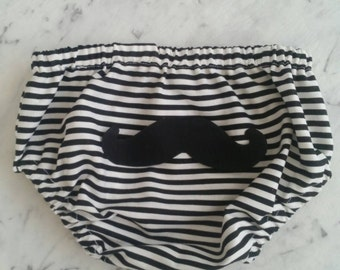 Black n White Nappy Cover with Mustache on the bottom