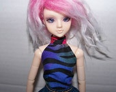 Pullip clothes - black and colorful striped halter top