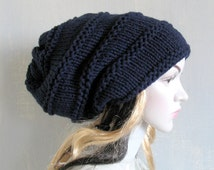 women slouchy - beanie hat - Slouch Beanie - Large hat - Chunky Knit Winter Fall Accessories Knit Cable hat-Hat Valentine Beanie