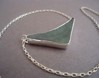 Sea Glass Pendant on Sterling Silver Chain