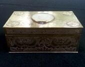Vintage China Brass Cigar Cigarette Box Cedar Wood Lined White Jade Center Hand Carved Medallion