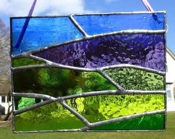 Stained Glass Moorland and Heather Light Catcher Panel