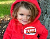 Daniel Tiger's Neighborhood Trolley Patch on Premium Red Zip-Up Hoodie with ears - Halloween Costume, Birthday Outfit, Toddler Jacket, Sweat
