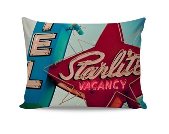 READY TO SHIP | Starlite Motel Neon Sign Pillow Cover | Vintage Las Vegas Decor | Motel Sign Pillow Cover | Pink Decor | 50s Decor