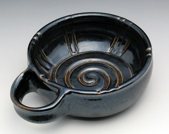 Dark Bronze Glazed Shaving Bowl with Horizontal Handle, Valentine's Gift for Men