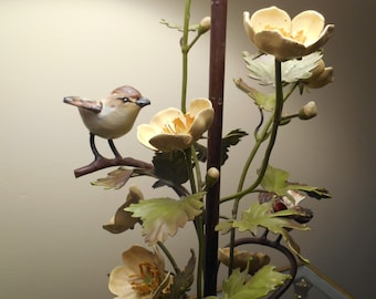 Tole COttage Chic Floral table Lamp birds