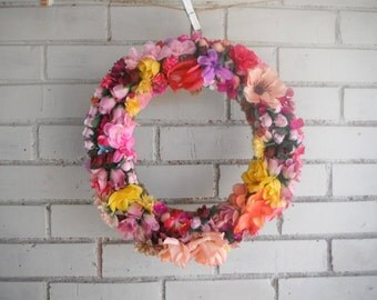 "door wreath wedding decor bohemian floral wreath bright colored wreath spring wreath summer wreath cottage decor bohemian wedding rustic 13"""