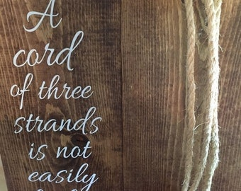 Cord of three strands sign//unity alternative//wedding//wedding sign