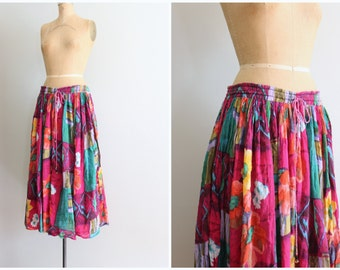 cotton gauze floral print skirt - colorful India gauze / hippie skirt - Indian cotton skirt / bright boho skirt - festival skirt - gypsy