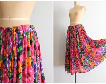 India floral print skirt - soft cotton gauze / 80s floral print gypsy skirt - drawstring & bells gauze skirt/ bright festival skirt