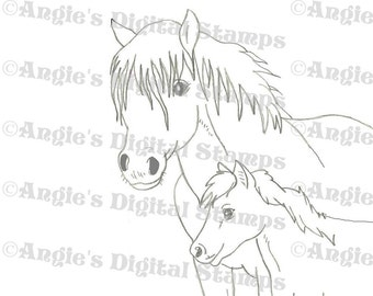 Horse With Foal Digital Stamp Image