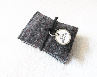 Hand Warmers GRAY & RED Wool Rice Bag Hand Warmers Bean Bag Ice Pack Stocking Stuffer by WormeWoole