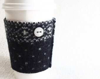 Coffee Cozy BLUE & WHITE Fair Isle Felted Sweater Wool Coffee Cosy / Coffee Sleeve / Coffee Sweater Gift Under 10 for Coffee Lover Coworker