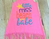 Beach dress- Girls Beach Dress- Girls Toddler Dress- Girls Dress- Little Miss Beach Babe- Toddler Girl Dress- Girls Cover up- Girls Summer