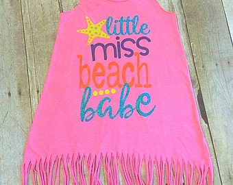 Beach dress- Girls Beach Dress- Girls Toddler Dress- Girls Dress- Little Miss Beach Babe- Toddler Girl Dress- Girls Cover up- Girls Summer