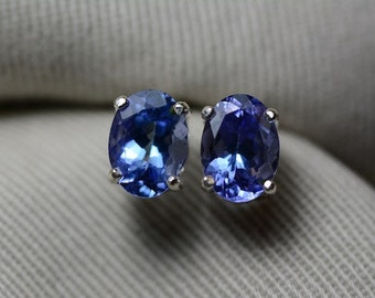 Tanzanite Earrings, Genuine Tanzanite Stud Earrings 2.71 Carats Appraised at 1490.50 Sterling Silver Blue Tanzanite Jewellery