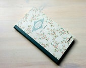 Floral light grey medium size journal with dreamy roses. White pages, vintage style lined hardback notebook diary