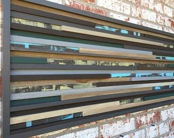 Modern Wood Sculpture Wall Art - Lines - 18 x 42