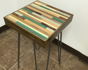 End/side Table with Hairpin legs - Wood Table - Reclaimed Wood table 12x12