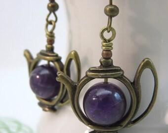 Tea pot earrings - purple amethyst teapot earrings - amethyst earrings - February birthstone - gemstone earrings - antiqued brass bronze