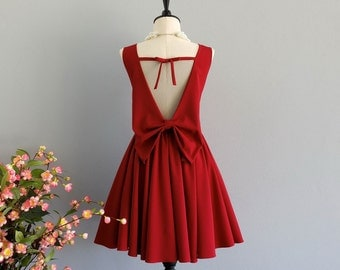 Party Angel Dress Blood Red Backless Party Dress Red Backless Bow Dress Prom Party Wedding Cocktail Bridesmaid Dresses Burgundy Dress XS-XL