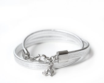 Minimalist Silver Lucky Elephant Charm Leather Bracelet, Original the LUCKY ELEPHANT Design, Soft Leather