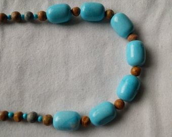 Blue Magnesite and Brown Riverstone Necklace