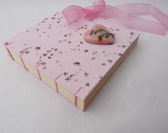 Sweet minialbum, baby book, felted heart, pink, elderflower, handmade paper, ribbon
