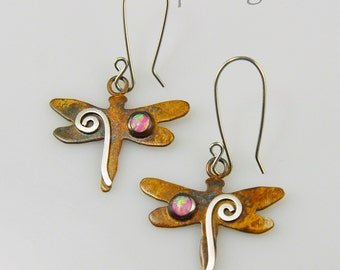 Patina Silver Dragonfly Earrings with Pink Opals and Silver Spirals, Silver Spiral Dragonflies, Patina Dragonfly Earrings, Silver Dragonfly