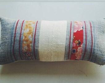 Batik and Floral Hmong Pillow Cover - Tribal Pillow - Boho Eclectic Home Decor