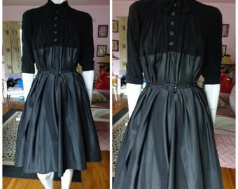 1950's JACQUES FATH Designer Paris New Look Dress Avant Garde Couture 40s Film Noir Vixen Wiggle Silk Rockabilly Vlv