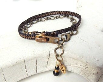 ZIPPER BRACELET With Feather -black and brass -  for teens and adults - adjustable - eco-friendly/upcycled jewelry - under 30.00